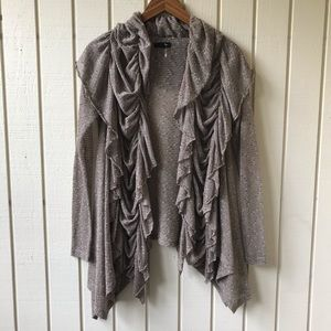 Ryu Boho Open Front Ruffle Cardigan Sweater Top